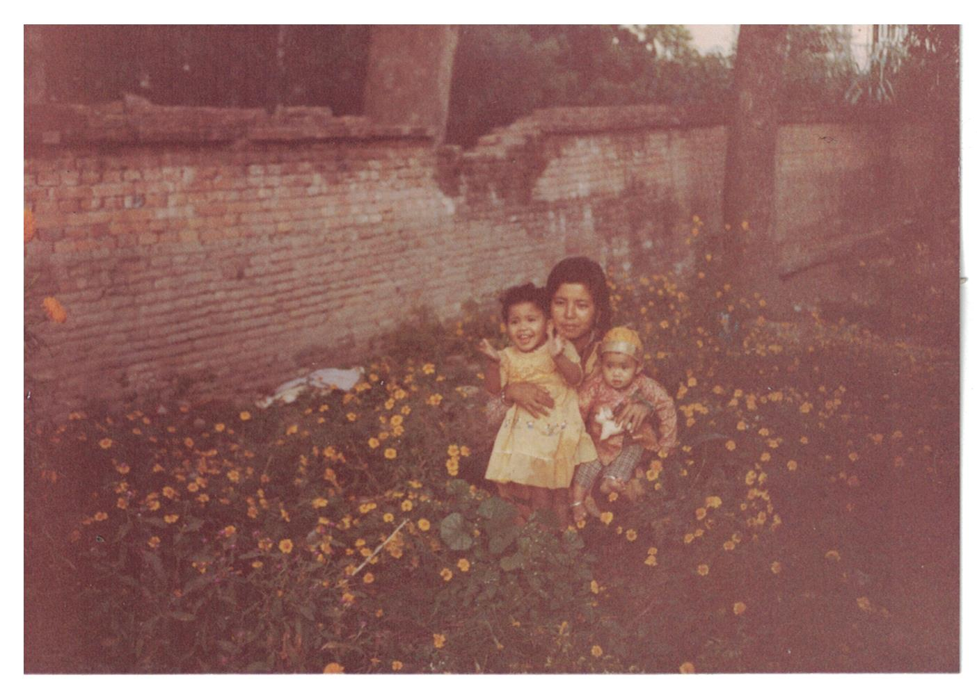 A picture with my mom and me (on the left) and my sister, Shraddha (on the right)